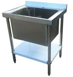 Commercial Stainless Steel Single Midi Pot Wash Sink w/ Undershelf Compact Deep