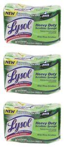 6 Pack Durable Scrub Sponges Heavy Duty Green Multi Purpose Odor Resistant