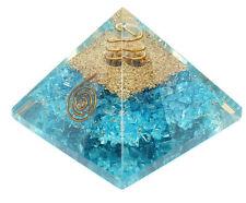 Orgonit Pyramide Türkise gefärbter Bergkristall programmiert nach Agnihotra 370