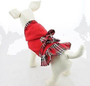 (Small-Med Breed) CHRISTMAS PLAID DRESS PET FLEECE COAT