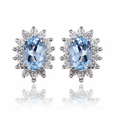 2.5ct Sky Blue Topaz Earrings Solid Sterling Silver Special Occassion