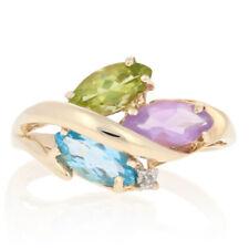 1.72ctw Marquise Topaz, Amethyst, Peridot & Diamond Ring - 10k Gold Leaf Bypass