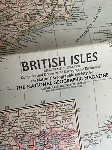 1958 Vintage National Geographic Map of The British Isles