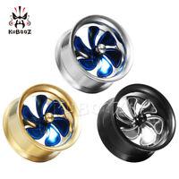 Stainless Steel Fan Ear Gauges and Ear Tunnels Body Piercing Ear Plugs 2pcs