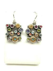Patricia Locke Silver Gold Plate Earrings JOY Swarovski Crystals NWOT