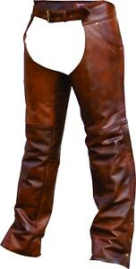NEW PREMIUM BUFFALO LEATHER CAFE BROWN BIKER MOTORCYCLE CHAPS RETAIL $189