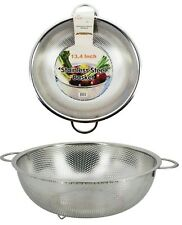 Uniware Stainless Steel Rice/Pasta/Vegetable/Fruit Colander, Silver (13.5 Inch)