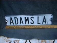 ADAMS LA   Vintage Street Sign Embossed 24 x 6 Black & White HEAVY L@@K ! !