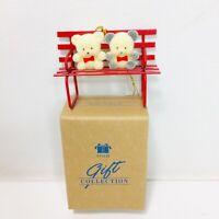 Avon Teddies On A Bench Christmas Ornament
