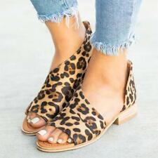 Women Leopard Print Peep Toe Low Heel Sandals Ladies Summer Casual Shoes Size