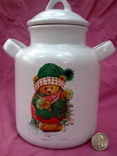Vintage Hallmark Teddy Bear Jar Canister Seal Tight Lid Handles CHRISTMAS Holly