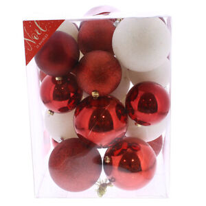 Christmas Noel 25 Piece Red & White Assorted Large Baubles  (glitter & solid)