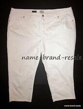 ST Johns Bay Crop White Denim JEANS Womens 24W 24 3X Cropped Capris Slim Leg