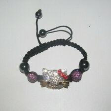 Bracelet Style Shamballa Strass Hello Kitty Rose Noir & Argent NEUF