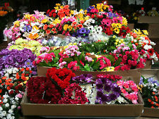 JOBLOT BUNCHES Artificial Silk Faux Floral bush posy Flowers Wholesale Bulk Buy