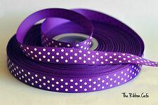 Swiss Dots purple 15mm printed grosgrain ribbon 2 metres