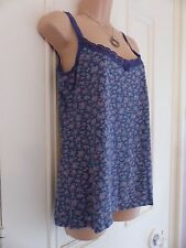 White Stuff size 12 navy vest top with pale pink floral pattern and lace trim