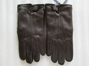 UGG Gloves Tech Smart Leather Whip Stitch Top Snap Brown XL New