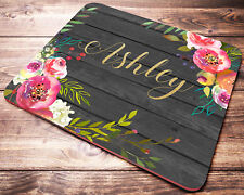Personalized Custom Name Watercolor Flowers Mouse Pad Computer Desk Accessories