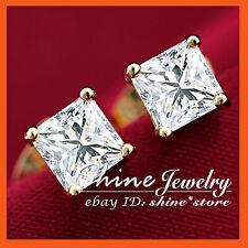 18K YELLOW GOLD GF PRINCESS CUT STUD SIMULATED DIAMOND SOLID MEN WOMENS EARRINGS