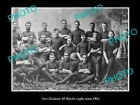 OLD 8x6 HISTORIC PHOTO OF THE NEW ZEALAND ALL BLACKS RUGBY UNION TEAM 1884