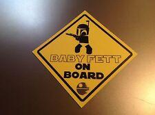 """Bébé à Bord Star Wars """"BABY FETT à bord"""" Imperméable Vinyle Autocollant Voiture"""