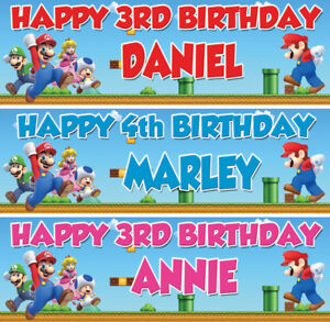2 x Personalized Super Mario Brothers Birthday Banner Nuersry Children Party