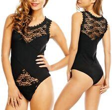 SeXy Miss Damen Girly Body Top Shirt Ärmellos Out Cut Spitze S 34 schwarz NEU