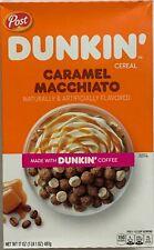 NEW POST DUNKIN' CARAMEL MACCHIATO CEREAL 17 OZ (481g) BOX MADE W/ DUNKIN COFFEE