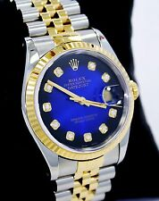 Rolex Datejust 16233 Jubilee 18K Yellow Gold & SS Blue Viniet Diamond Dial MINT