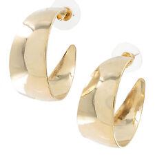"USA Made Classic Wide Pierced Hoop Earrings Gold Tone 1 1/4"""
