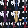 Men's Tie Set Necktie Red Black Blue Gold Silk  Pocket Square Cufflinks Wedding
