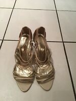 Faith Gold And Cream Strappy Shoes With Fab Stiletto Heels UK Size 4