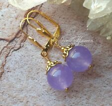 Jade Gemstone Gold Plated Lever Backs Cute Light Purple Lavender Lilac Earrings