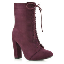 Womens High Heel Ankle BOOTS Ladies Lace up Round Toe Calf BOOTIES Shoes Size UK 7 / EU 40 / US 9 Burgundy Faux Suede