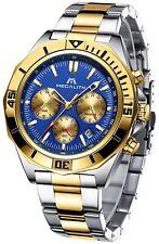 MEGALITH Luxusuhr Chronograph Herrenuhr Elegant Edel Edelstahl NEU Business Gold