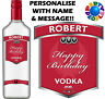 PERSONALISED VODKA BOTTLE LABEL - ANY TEXT - BIRTHDAY WEDDING XMAS NOVELTY GIFT