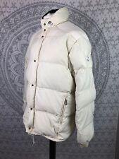 Chaqueta de Abrigo Vintage Moncler Acolchado Blanco Invierno Puffa abajo Retro Grande L Para Hombre