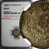 Mexico SECOND REPUB.Silver 1888 ZS Z 5 Centavos NGC MS64  Zacatecas KM# 398.10