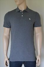NEU Abercrombie & Fitch Stretch Passform Icon Logo Polo Shirt grau Elch XL
