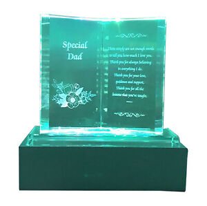 Crystal Glass Colorful Lights Memorial Plaque With LED Stand Gift Ornaments New