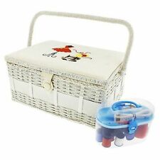 Vintage Sewing Basket Organizer Box Kit with Supplies and Notions, 13x9.5x6 In