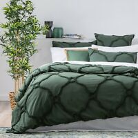 Renee Taylor Moroccan 100% Cotton Chenille Tufted Quilt Cover Set