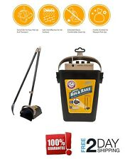 Dog Pooper Scooper Swivel Bin & Rake Handle Waste Clean Pick Up Shovel With Bags