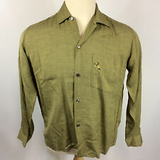 Rare Vintage Rayon Gabardine Rockabilly Camp Hawaiian Lion Crest 1950's Shirt M