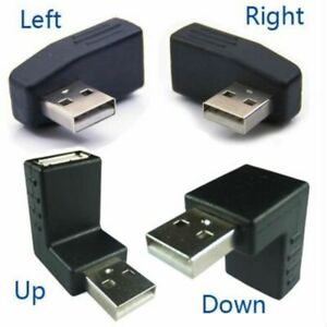 90 Degree USB 2.0 A Male to A Female Left Right Up Down Angled Extension Adapter
