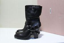 New Miu Miu Black Leather Harness Biker Riding Boot High Heel Shoes sz 8 / 38