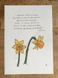 William Wordsworth - Daffodils / Art Poem Print / Poster / Drawing A4