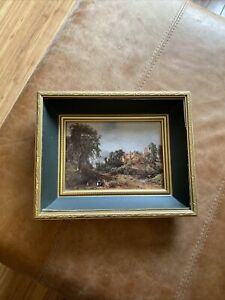 Beautiful Gold Colour Picture Deep Frame Wallhanging Woods Cow Church Scene