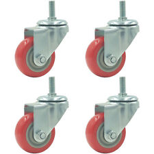 4 Pack 3 Inch Caster Wheels Swivel Plate with Stem On Red Polyurethane PU